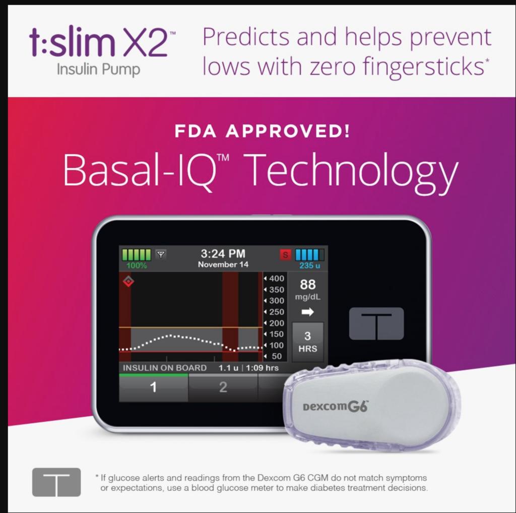 tandem tslim basal iq technology insulin pump